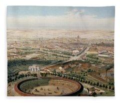 Aerial View Of Madrid From The Plaza De Toros Fleece Blanket
