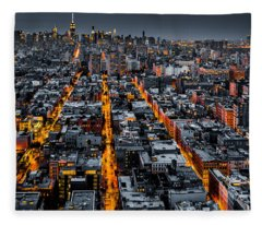 Aerial View Of New York City At Night Fleece Blanket