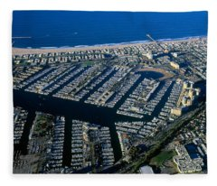 Aerial View Of The Marina Del Rey, Los Fleece Blanket