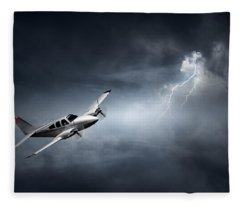 Risk - Aeroplane In Thunderstorm Fleece Blanket