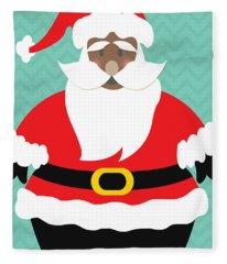 African American Santa Claus Fleece Blanket