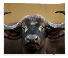 African Buffalo Cow Portrait Fleece Blanket