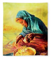 African Chai Tea Lady. Fleece Blanket