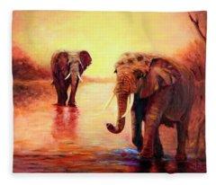 African Elephants At Sunset In The Serengeti Fleece Blanket
