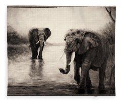 African Elephants At Sunset Fleece Blanket