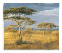 African Landscape Fleece Blanket