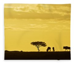 African Silhouette Fleece Blanket