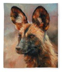 African Wild Dog Fleece Blanket
