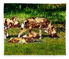 African Wild Dog Family Fleece Blanket