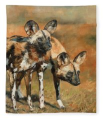 African Wild Dogs Fleece Blanket