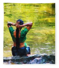 After The River Bathing. Indian Woman. Impressionism Fleece Blanket