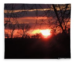 After The Snow Sunset Fleece Blanket