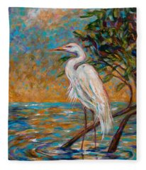 Afternoon Egret Fleece Blanket