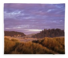 Afternoon Light Warms The Umpqua Dunes Fleece Blanket