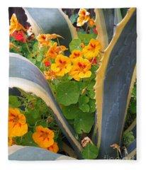 Agave And Nasturtiums Fleece Blanket