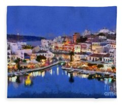 Painting Of Agios Nikolaos City Fleece Blanket