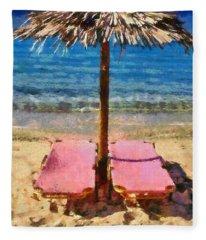 Agrari Beach In Mykonos Island Fleece Blanket