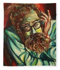 Alan Ginsberg Poet Philosopher Fleece Blanket