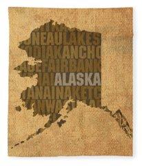 Alaska Word Art State Map On Canvas Fleece Blanket