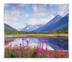 Alaskan Horizons Oil Painting Fleece Blanket