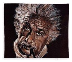 Albert Einstein Portrait Fleece Blanket