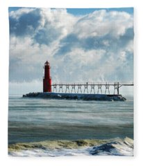Algoma Pierhead Lighthouse Fleece Blanket