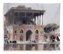 Ali Qapu Palace, Isfahan, 1994 Wc On Paper Fleece Blanket