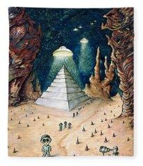 Alien Invasion - Space Art Painting Fleece Blanket