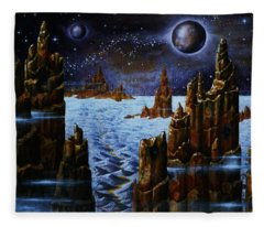 Ice And Snow  Planet  Fleece Blanket