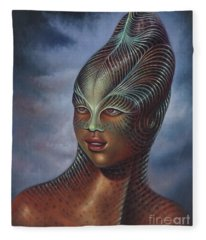 Alien Portrait I Fleece Blanket