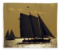 All Sails Sunset In Key West Fleece Blanket