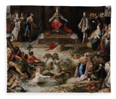Allegory Of The Abdication Of Emperor Charles V In Brussels, C.1630-1640, By Frans Francken Fleece Blanket