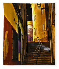 Alley By Night - Cascais - Portugal Fleece Blanket