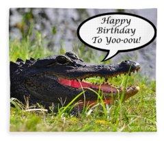 Alligator Birthday Card Fleece Blanket