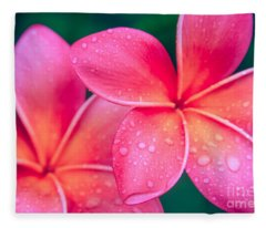 Aloha Hawaii Kalama O Nei Pink Tropical Plumeria Fleece Blanket