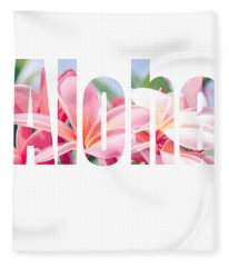 Aloha Tropical Plumeria Typography Fleece Blanket