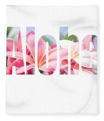 Aloha Tropical Plumeria Typography Fleece Blanket