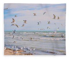 Along The Beach Fleece Blanket