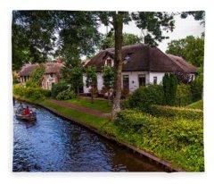 Along The Canal. Giethoorn. Netherland Fleece Blanket