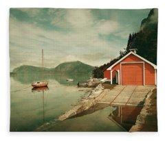 Along The Fjord Fleece Blanket