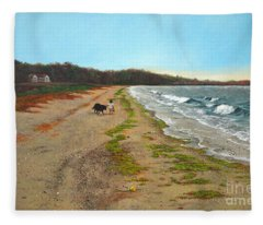 Along The Shore In Hyde Hole Beach Rhode Island Fleece Blanket