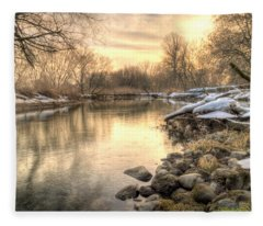 Along The Thames River  Fleece Blanket