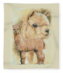 Fleece Blanket featuring the mixed media Alpaca by Barbara Keith