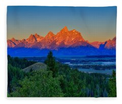 Alpenglow Across The Valley Fleece Blanket