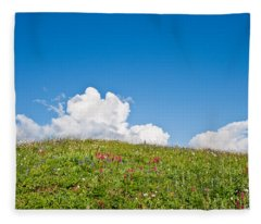 Alpine Meadow And Cloud Formation Fleece Blanket