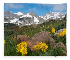 Alpine Sunflower Mountain Landscape Fleece Blanket