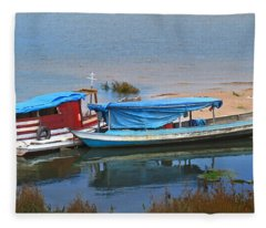 Amazon River Boats Fleece Blanket