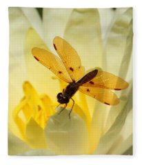 Amber Dragonfly Dancer Fleece Blanket