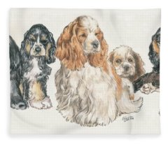 American Cocker Spaniel Puppies Fleece Blanket
