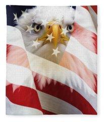 American Flag And Bald Eagle Montage Fleece Blanket